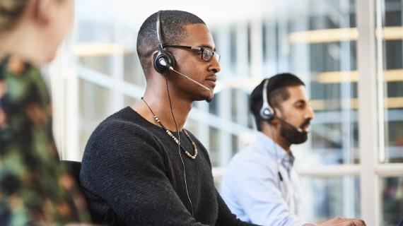 Man talking on a headset
