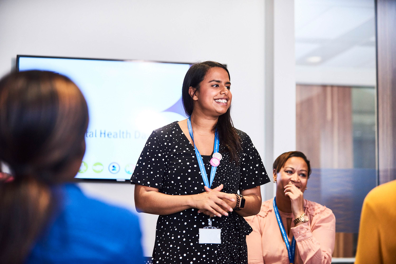 staff giving presentation
